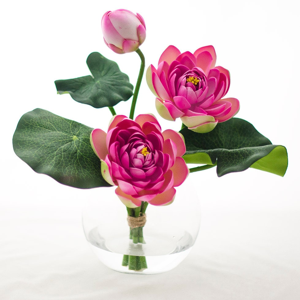 Real Touch Artificial Lotus Arrangement In Round Glass Vase Etsy