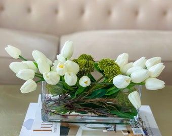 White Tulip Real Touch Flower Arrangement-Real Touch Tulips for Home Decor-Real Touch Floral Arrangement Tulip-White Faux Flower Arrangement