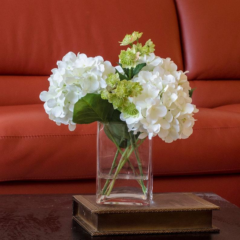 c5303e61f269 White Hydrangea Arrangement Silk Flowers Greenery Spray