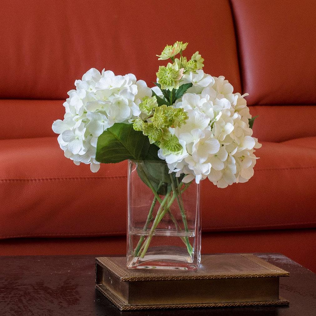 White Hydrangea Arrangement Silk Flowers Greenery Spray Etsy