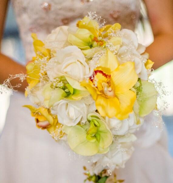 Real Touch Orchidee Kaskadierende Hochzeit Strauss Weisse Rosen Etsy