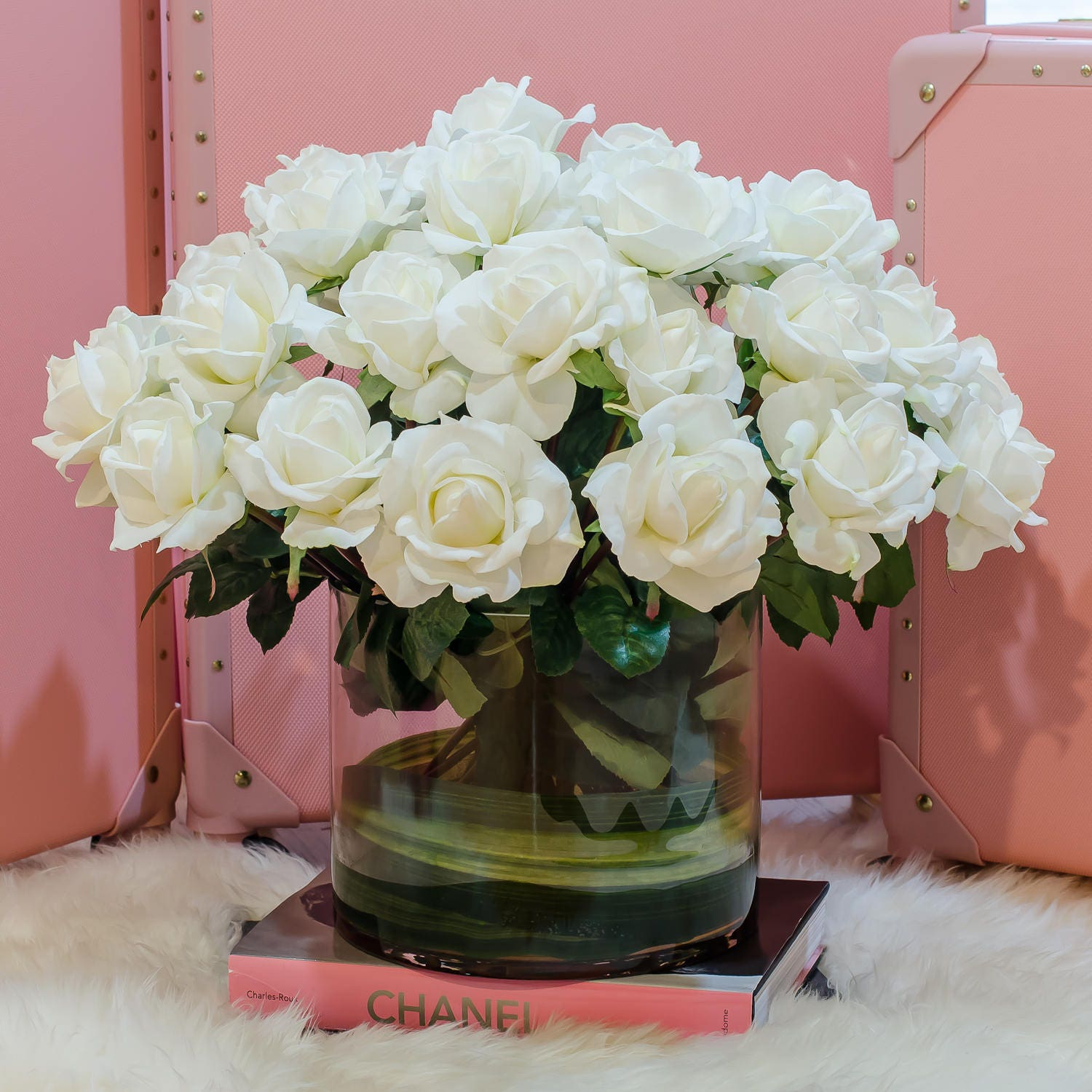 Very large white real touch rose arrangement with cylinder glass vase artificial flowers faux arrangement for home decor centerpiece zoom mightylinksfo