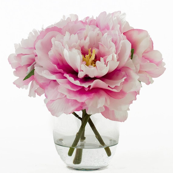 Silk peonies arrangement with fuchsia silk flowers artificial etsy image 0 mightylinksfo