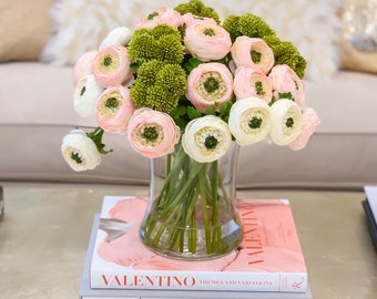 Large Elegant Finest Artificial Ranunculus Arrangement In Glass Vase Pink White Artificial Flower Arrangement