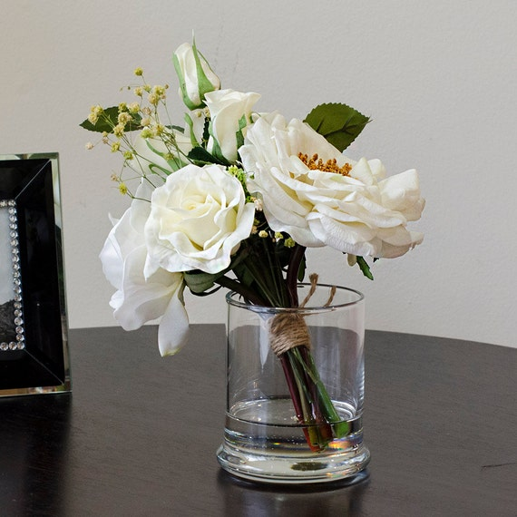 Real Touch White Rose Arrangement Mixed Artificial Flowers In Etsy