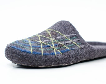 Felted slippers - Mens wool slippers - men home shoes Gray Eco friendly organic wool
