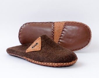 Eco friendly Felted slippers Unisex moccasin slippers Brown organic wool