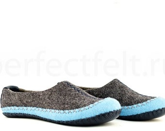 """Men's felted slippers """"Chief of Iroquois"""" 