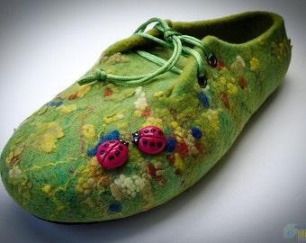 Women felt slippers Green glade