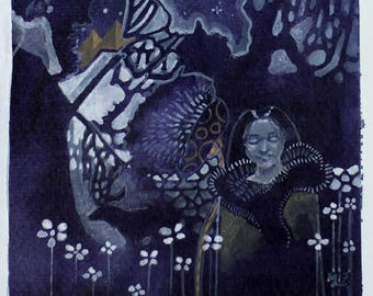 Nights in the North - gouache painting art drawing - girl and reindeer - deer - winter art - Finnish art - psychedelic art - shamanism