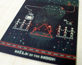 5 x postcard set / halloween postcards / cards / Milk of the Moon / skeleton art / skeletons / art / greeting cards / pixel art / game art