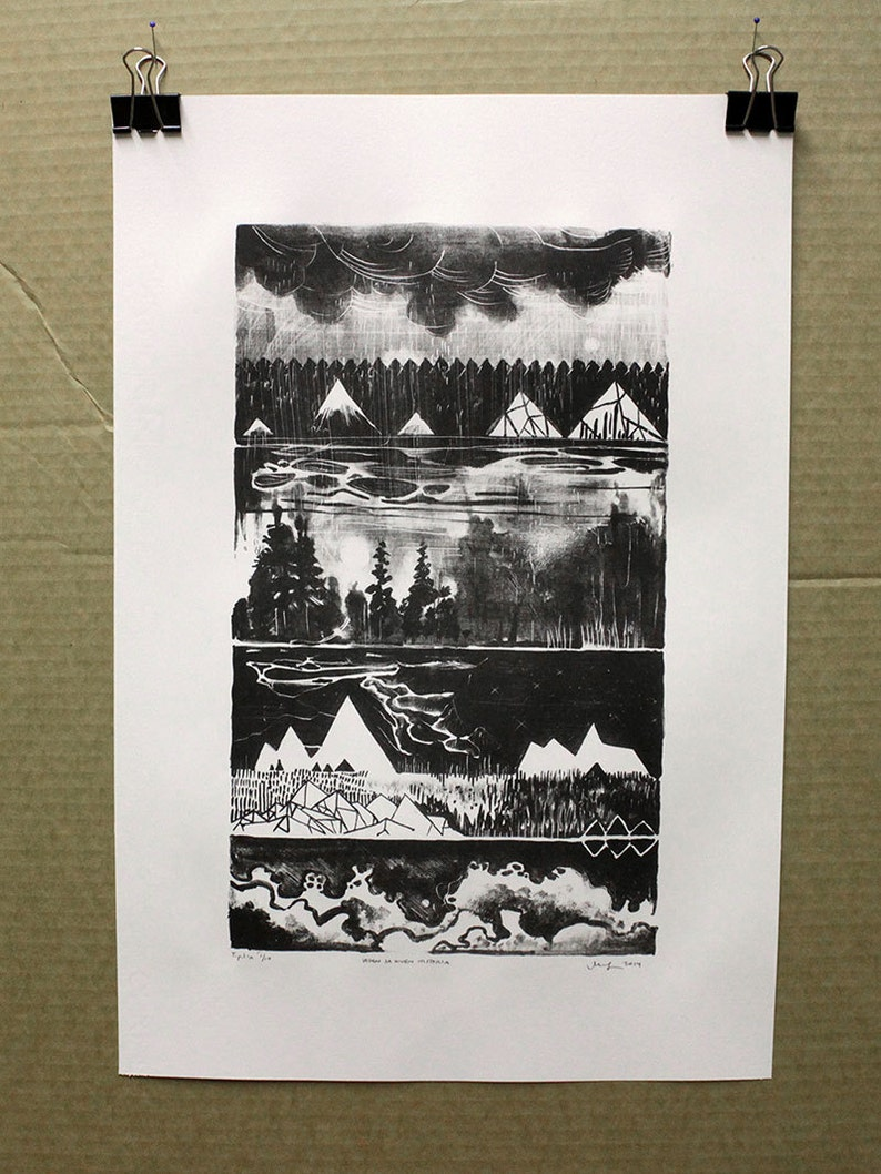 Landscape art  lithograph  black and white History of Water image 0