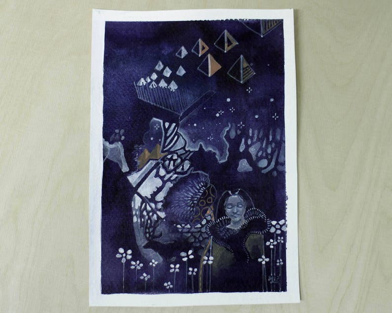 Nights in the North  gouache painting art drawing  girl and image 1