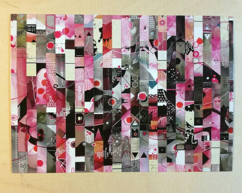 5x postcard set  pink postcards  stationery  art postcards image 1