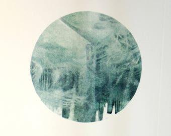 Wind-corners - monotype printmaking art - blue art - tiny art - ooak - printmaking gift - small art for bedroom - tiny art gift original art