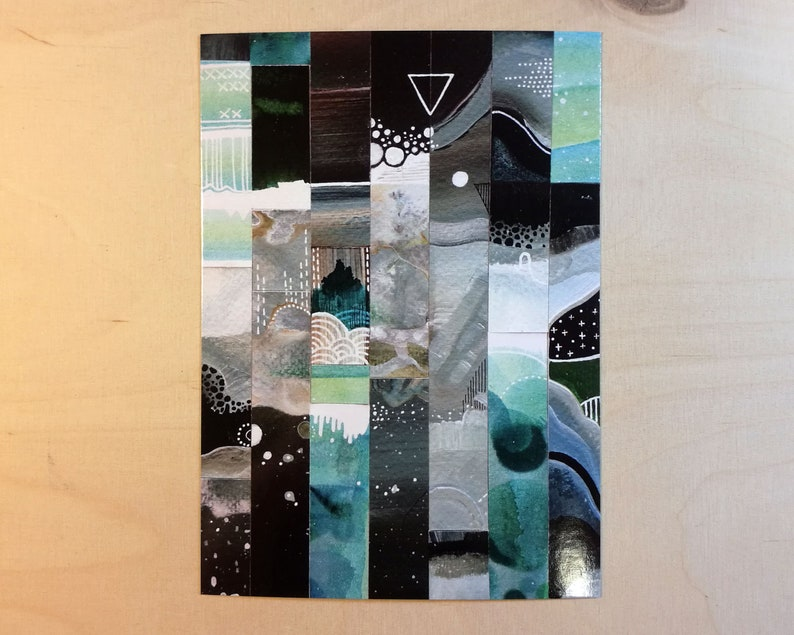 5x postcard set  space postcards  stationery  art postcards image 1