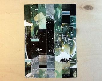 5x postcard set - space postcards - stationery - art postcards - value pack - pixel art postcards - mosaic - game inspired art - geek art