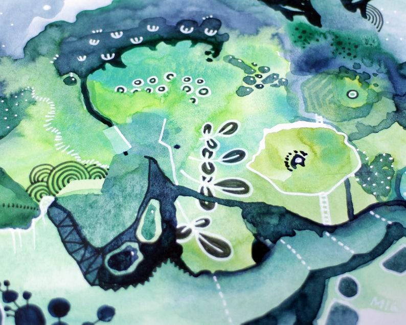 Nights in Geosmin  watercolor painting art drawing  garden image 0