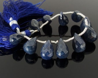 Sapphire Briolettes, Faceted, 6x11-8x12 mm, Set of 11