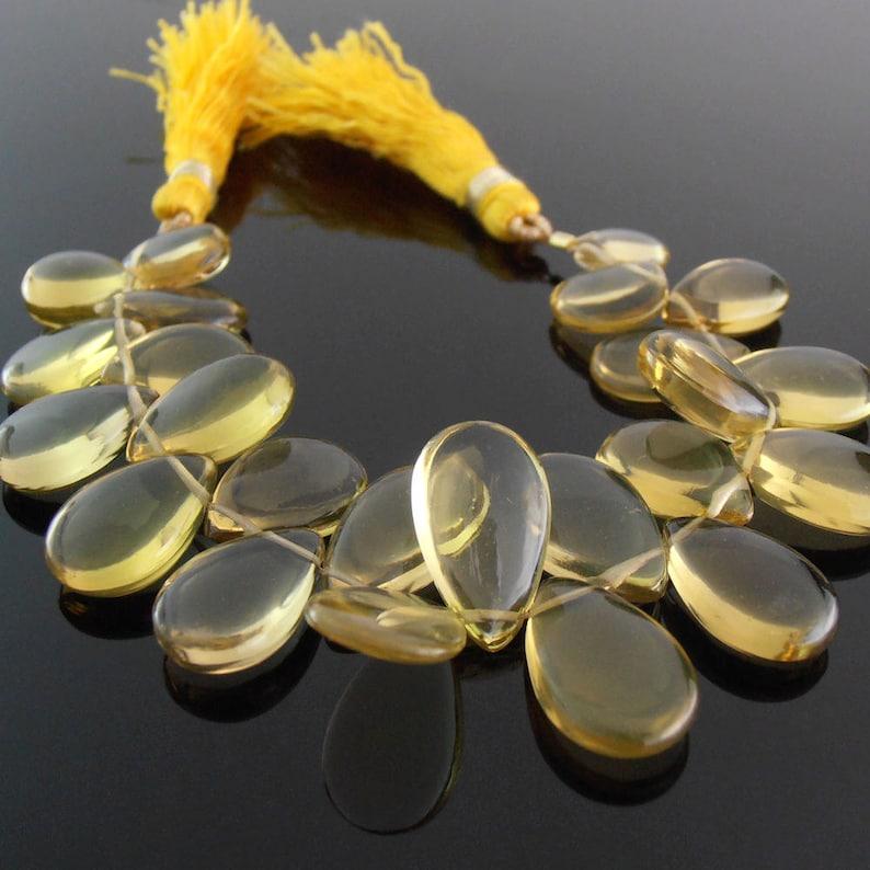 Unfaceted Champagne Quartz Pears 7x10-9x16 mm Set of 24
