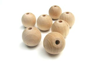 1 Pearl round 10mm natural wood