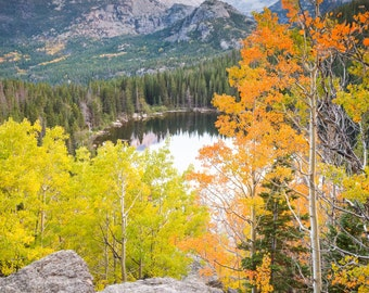 Colorado Landscape Photography Print - Rocky Mountain National Park Autumn Fall - Mounted / Hanging Options - 11x14 16x20 20x30 24x36 30x45