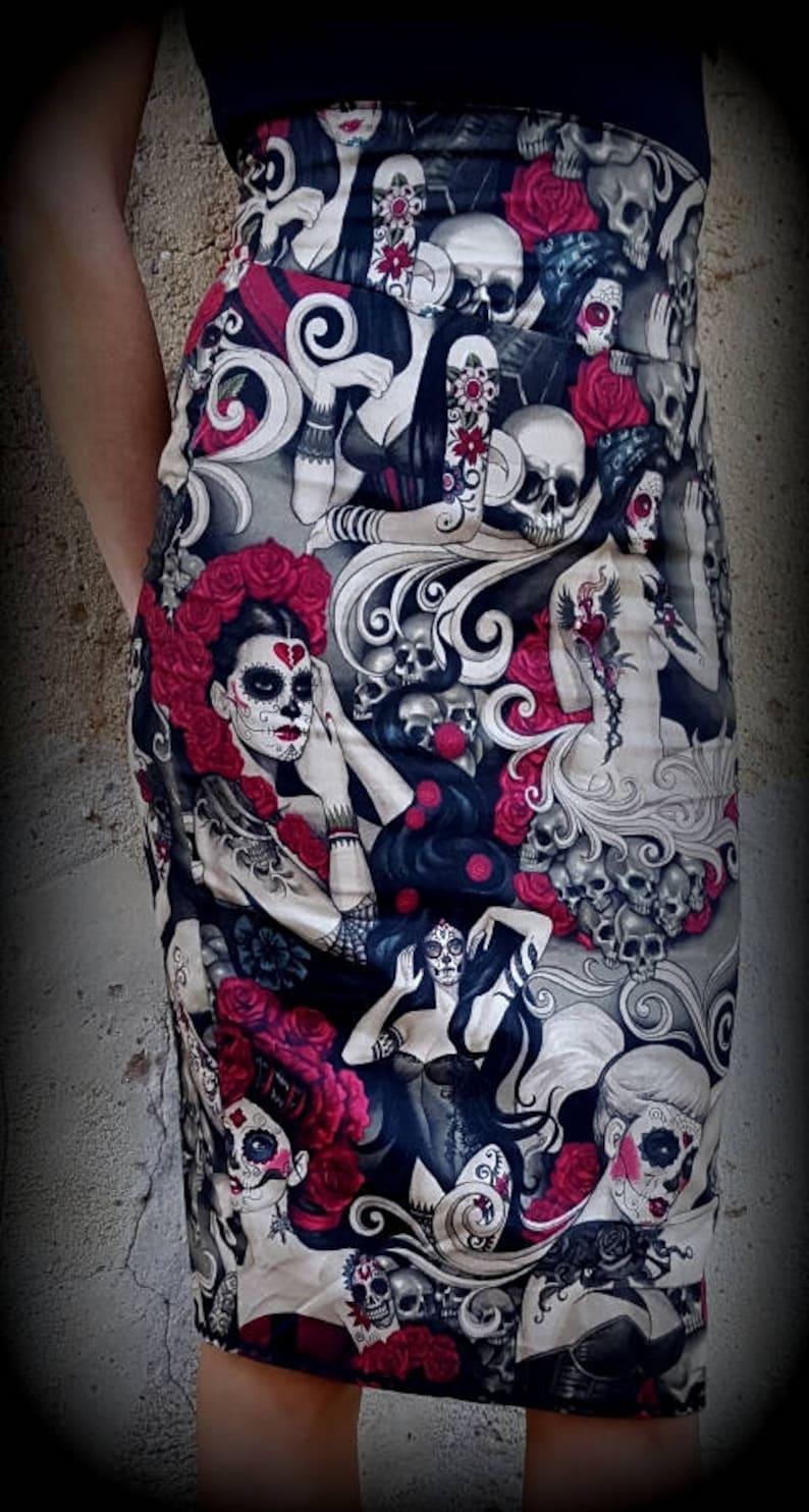 Ołówek Spódnica Szałowy Rockabilly Vintage Pasa Czaszki Psychobilly Rock Goth Szkielety Las Señoritas Meksykanów Santa Muerte Tatuaż Horror Zombie