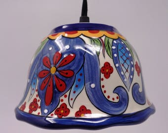 Blue with Red Flowers Pendant Light