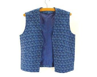 Vintage 1970s Bright Blue Welsh Style Waistcoat - Size 12UK  (8US)