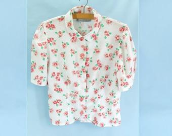 Vintage 1990s Rose Print Short Sleeved Fitted Blouse - Size 12UK  (8US)
