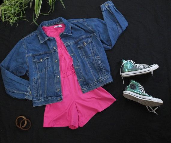 Vintage 1990s Hot Pink Play Suit Romper Playsuit -