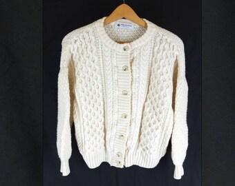Vintage 1990s Cream Aran Knit Fisherman's Cardigan Crew Neck Cable Knit - Size 12UK