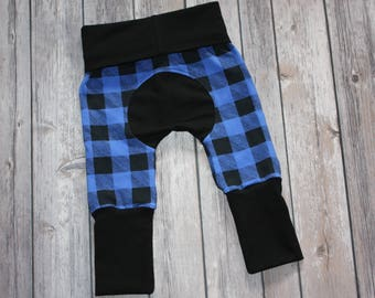 Miniloones,Grow With Me Pants,Blue Plaid Leggings,Baby Maxaloones,Adjustable Pant,Coming Home Outfit,Baby Joggers,Grow with Me,Baby Leggings