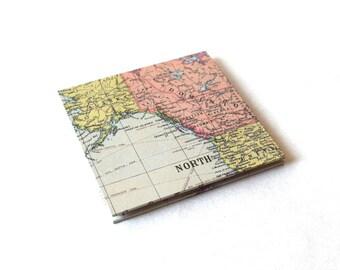 Travel photo album, stocking stuffer, photo scrapbook, scrapbook album, wallet size photos, square album, world map album, accordion book