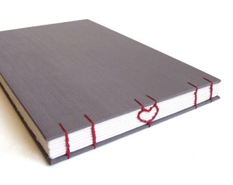 Grey Wedding Guestbook, gray artist sketchbook, blank scrapbook, opens flat, heart coptic stitched made to order, 6.5 x 9.5 book