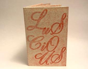 Luscious instant book, pressure print, artist book, pop-up book, bookarts, miniature book, handmade book by Andre Lee Bassuet