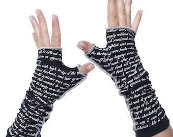 Dracula Writing Gloves - Fingerless Gloves, Arm Warmers, Bram Stroker, Literary, Book Lover, Books, Reading