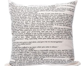 Pride & Prejudice Pillow Cover - Jane Austen, Throw Pillow, Book Pillow, Literary Pillow, Book Nook, Book Lover, Books