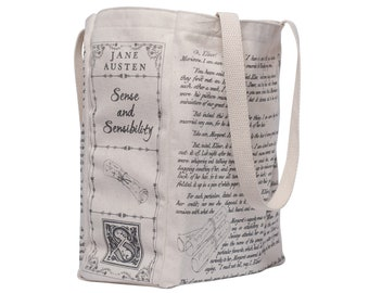 Sense and Sensibility Book Tote - Jane Austen, Tote Bag, Literary, Book Lover, Books, Literature, Teacher Gift, Gift for Reader