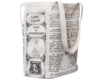 Alice In Wonderland Book Tote - Lewis Carroll, Tote Bag, Literary, Book Lover, Books, Literature, Teacher Gift, Gift for Reader