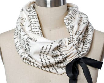 Les Miserables Ribbon Book Scarf - Infinity Scarf, Literary Scarf, Victor Hugo, Book Lover, Books, Reading, Teacher Gift