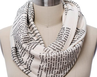 Jane Eyre Book Scarf - Infinity Scarf, Literary Scarf, Charlotte Brontë, Book Lover, Books, Reading, Teacher Gift