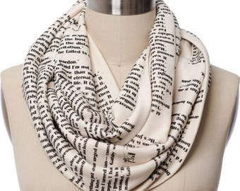 The Great Gatsby Book Scarf - Officially Licensed - Infinity Scarf, Literary Scarf, F. Scott Fitzgerald, Book Lover, Books, Reading