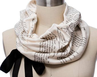 Alice In Wonderland Ribbon Book Scarf - Infinity Scarf, Literary Scarf, Lewis Carroll, Book Lover, Books, Reading, Teacher Gift