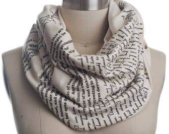 Persuasion Book Scarf - Infinity Scarf, Literary Scarf, Jane Austen, Book Lover, Books, Reading, Teacher Gift