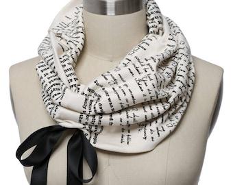 Persuasion Ribbon Book Scarf - Infinity Scarf, Literary Scarf, Jane Austen, Book Lover, Books, Reading, Teacher Gift
