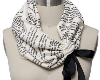 Pride and Prejudice Ribbon Book Scarf - Infinity Scarf, Literary Scarf, Jane Austen, Book Lover, Books, Reading, Teacher Gift