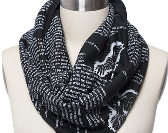 The Raven by Poe Book Scarf - Infinity Scarf, Literary Scarf, Edgar Allan Poe, Book Lover, Books, Reading, Teacher Gift