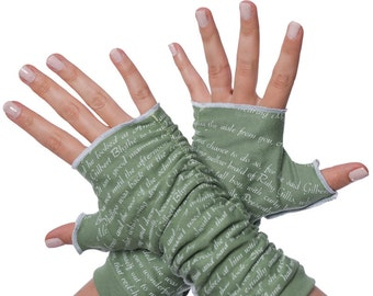 Anne of Green Gables Writing Gloves - Fingerless Gloves, Arm Warmers, Lucy Maud Montgomery, Literary, Book Lover, Books, Reading
