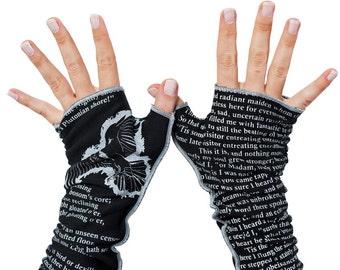 The Raven Writing Gloves - Fingerless Gloves Cotton, Arm Warmers, Edgar Allan Poe Gift, Graduation Gift, Booklover Gift, Back to School
